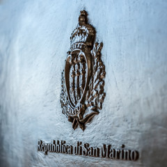San Marino coat of arms on the black mailbox
