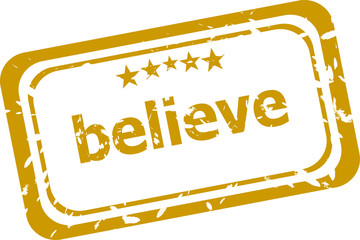 believe stamp isolated on white background