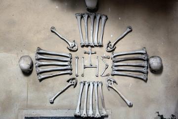 Human bones and skulls in the Sedlec Ossuary.