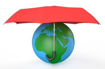 earth covered by red umbrella