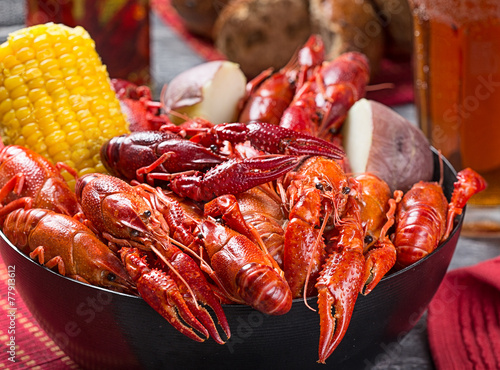 canvas print picture Creole style crawfish boil