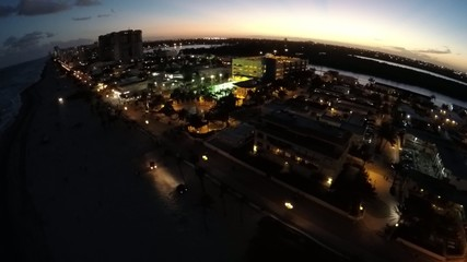 2.7k 60p Aerial video Hollywood Beach Florida