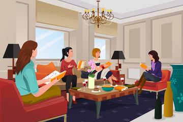 Women in a book club meeting