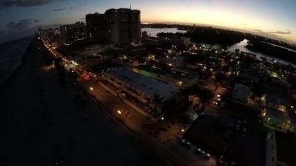 Aerial video Hollywood Beach at night 2.7k