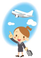 飛行機で出張 若手ビジネスウーマン