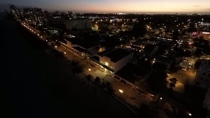 Night aerial video Hollywood FL 4k uhd