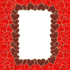 dark red beautiful photo frame with hearts