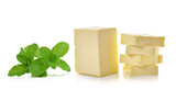 mint and Stick of butter isolated on white background