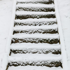staircase outdoor covered with snow