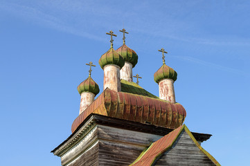 Dome of ancient christian church in North Russia near Kargopol