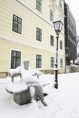 A famous statue of the croatian writer Antun Gustav Matos, cover