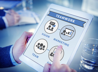 Businessman Digital Tablet Connection Teamwork Concept