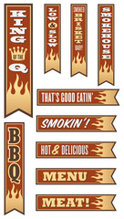 Barbecue Banners with Flames and wrap around 3D look.