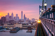 Philadelphia under a hazy purple sunset