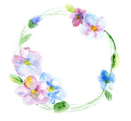 watercolor flowers in a circle