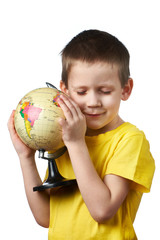 Little boy with globe