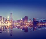 Fototapety New York City Lights Scenic Bridge View Concept