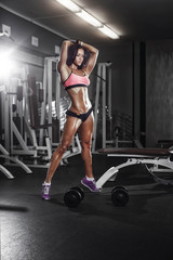fitness girl with dumbbells posing in the gym © Fotokvadrat