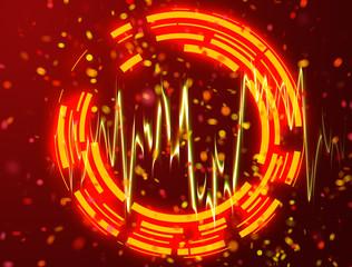 Neon orang circles background and orang light wave