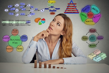 businesswoman calculating risks of new project implementation