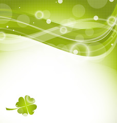 Abstract wavy background with clover for St. Patrick's Day