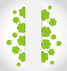 Greeting card with set shamrocks for St. Patrick's Day