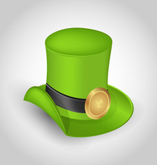 Green hat with buckle in saint Patrick Day - isolated on white b