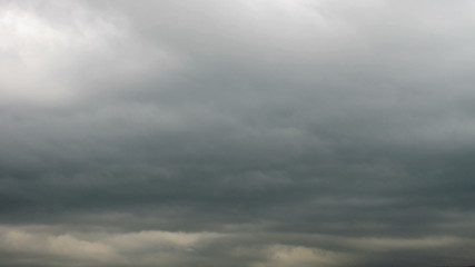 Dramatic sky with stormy clouds moving fast, time lapse.