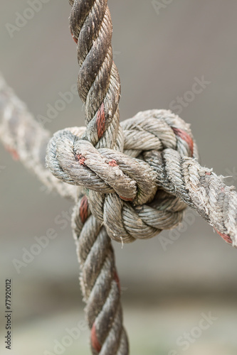 Old fishing boat rope with a Tied Knot - 77920012