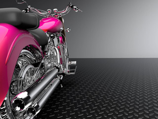 Pink silhouette of a motorcycle