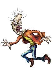 Frightened cartoon man