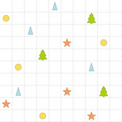 Seamless checked pattern with trees, triangles, circles