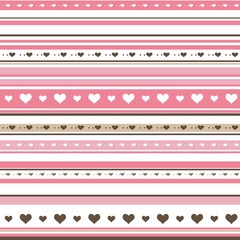 Seamless horizontal striped pattern with hearts and dots
