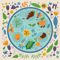 Passover seder plate with floral decoration