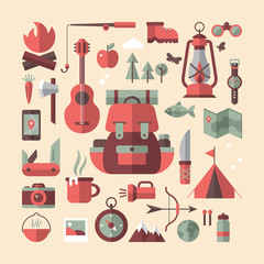 Camping and traveling flat stylish icons