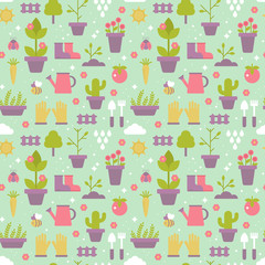 Gardening seamless pattern design with cute flat icons