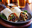 two beef burritos with rice, black beans and salsa - 77921492