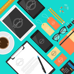 Flat mock up template for business workplace and branding design