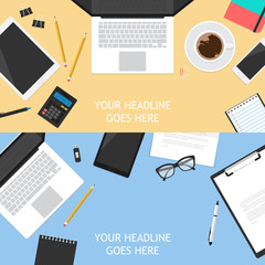 Flat mock up template for business workplace
