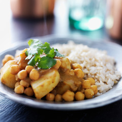 indian vegetarian curry with potatoes, chickpeas and lentils