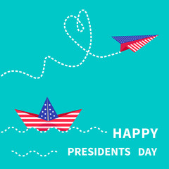 Presidents Day background Paper boat  paperplane Dash line.