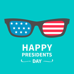 Glasses stars and strips Presidents Day background flat design
