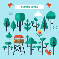 Forest trees flat modern icons set