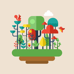 Forest flat modern icons. Environment and ecology concept