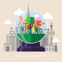 Flat modern design for saving environment concept
