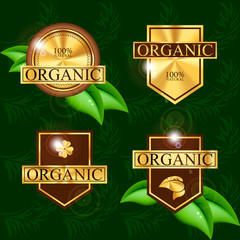 gold vector labels for organic products
