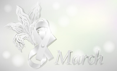 Cards for March 8. Bow and flower with a 3D effect