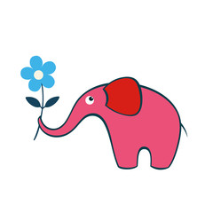 Baby elephant with flower