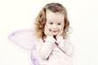 Little dreamy girl with butterfly wings