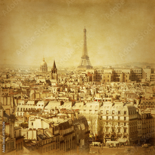 Old style photo of Eiffel Tower.Paris.